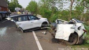 Kia Seltos gặp tai nạn gãy đôi xe