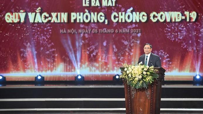 Thủ tướng Chính phủ Phạm Minh Chính phát biểu trong buổi lễ ra mắt Quỹ vắc-xin phòng, chống COVID-19