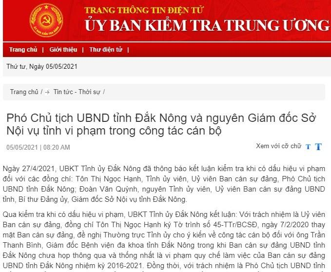 Đề nghị thi hành kỷ luật Phó Chủ tịch UBND tỉnh Đắk Nông ảnh 1