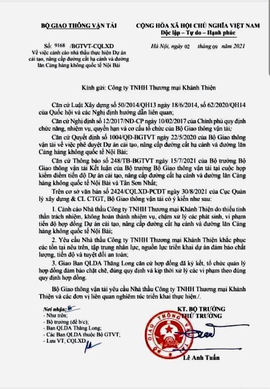 Văn bản cảnh cáo công ty Khánh Thiện của Bộ GTVT.