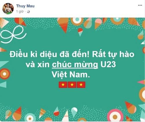 Công Vinh - Thủy Tiên và hàng loạt sao 'bùng nổ' cảm xúc sau chiến thắng của U23 Việt Nam ảnh 4
