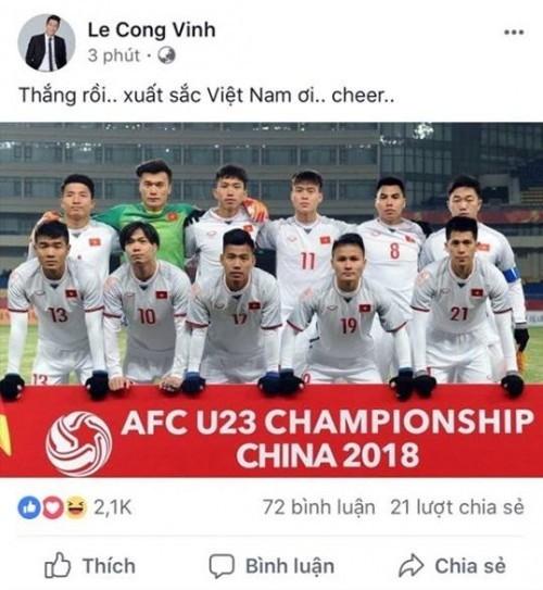 Công Vinh - Thủy Tiên và hàng loạt sao 'bùng nổ' cảm xúc sau chiến thắng của U23 Việt Nam ảnh 1