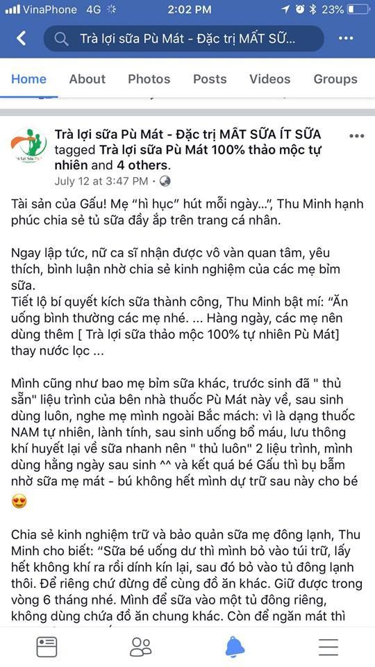 Ca sĩ Thu Minh bật khóc vì bị lợi dụng hình ảnh quảng cáo trà lợi sữa ảnh 2