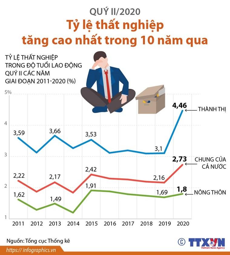 Tỷ lệ thất nghiệp trong quý 2 tăng cao nhất 10 năm qua ảnh 1