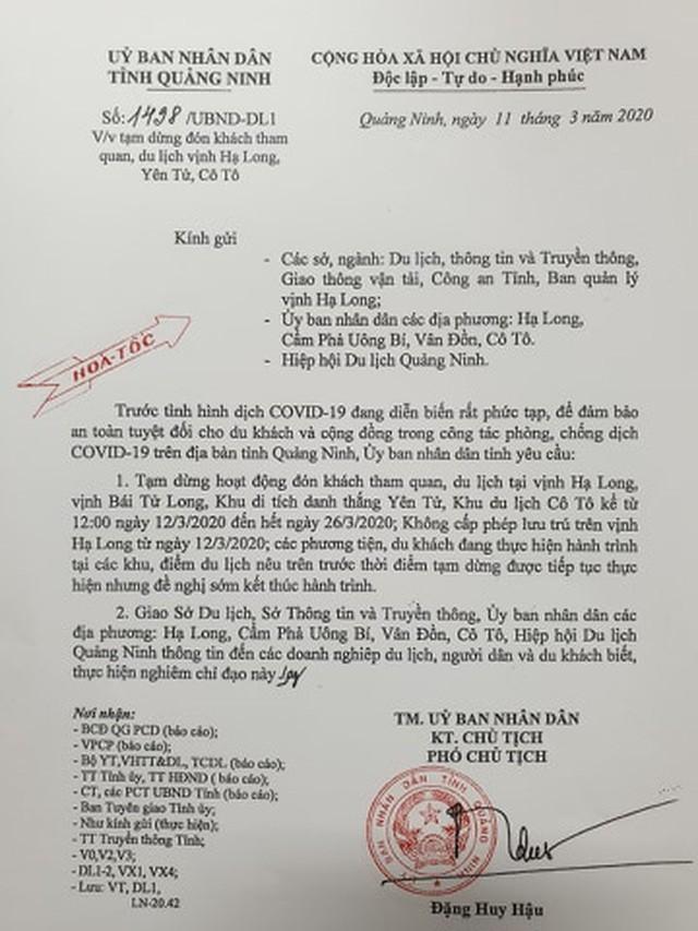 Đối phó với Covid-19, Quảng Ninh tạm dừng đón khách du lịch ảnh 1