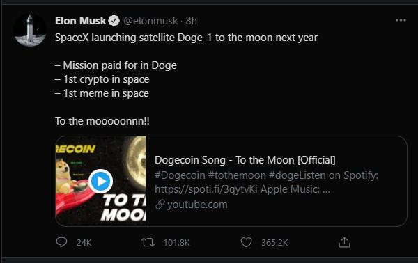 SpaceX chấp nhận việc sử dụng tiền điện tử Dogecoin để thanh toán chi phí phóng tên lửa ảnh 1