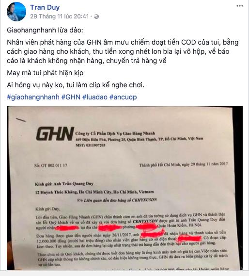 """Nhân viên Giaohangnhanh.vn tráo ống kính máy ảnh bằng vỏ lon để """"đánh cắp"""" tiền thu hộ của khách hàng ảnh 1"""
