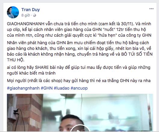 """Nhân viên Giaohangnhanh.vn tráo ống kính máy ảnh bằng vỏ lon để """"đánh cắp"""" tiền thu hộ của khách hàng ảnh 2"""