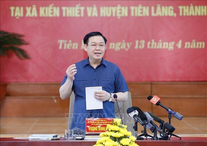 Chủ tịch Quốc hội Vương Đình Huệ kiểm tra công tác chuẩn bị bầu cử tại Hải Phòng ảnh 1