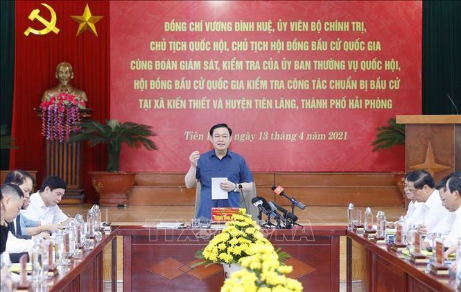 Chủ tịch Quốc hội Vương Đình Huệ kiểm tra công tác chuẩn bị bầu cử tại Hải Phòng ảnh 2
