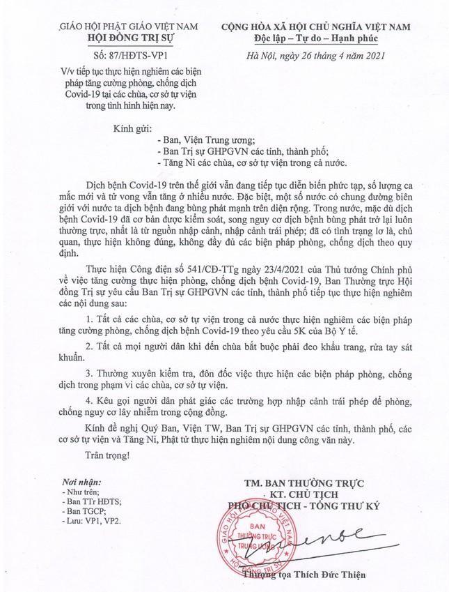 GHPGVN yêu cầu các cơ sở Phật giáo thực hiện nghiêm biện pháp chống dịch ảnh 1