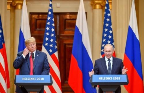 Tổng thống Mỹ - Nga họp báo chung tại Helsinki, Phần Lan. Ảnh: AFP.
