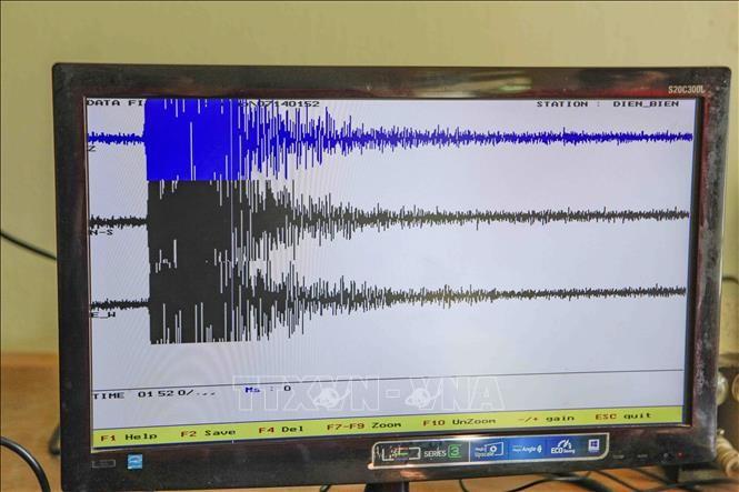 Giản đồ trận động đất biểu thị trên máy vi tính.