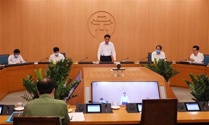 Quang cảnh họp Ban chỉ đạo phòng dịch COVID-19 tại Hà Nội.