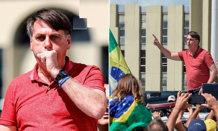 Tổng thống Jair Bolsonaro không đeo khẩu trang khi diễn thuyết trước đám đông phản đối phong tỏa và giãn cách xã hội tại Brazil hồi tháng 4. (Nguồn: Dailymail)