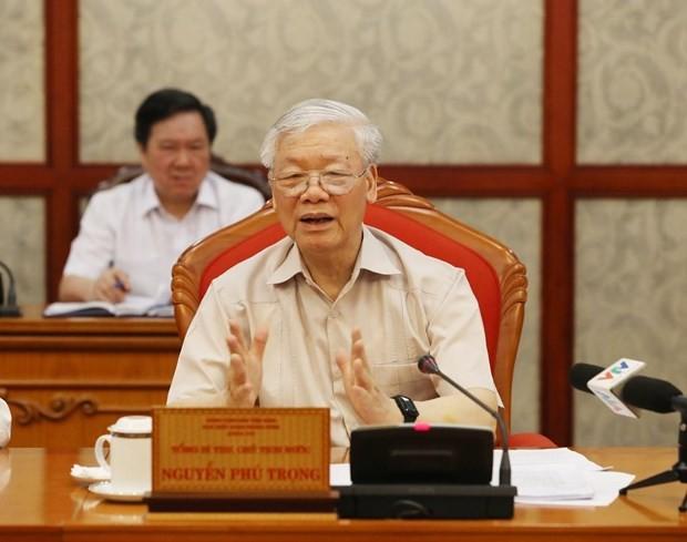 Tổng Bí thư, Chủ tịch nước Nguyễn Phú Trọng phát biểu tại cuộc họp Bộ Chính trị. (Ảnh: Trí Dũng/TTXVN)