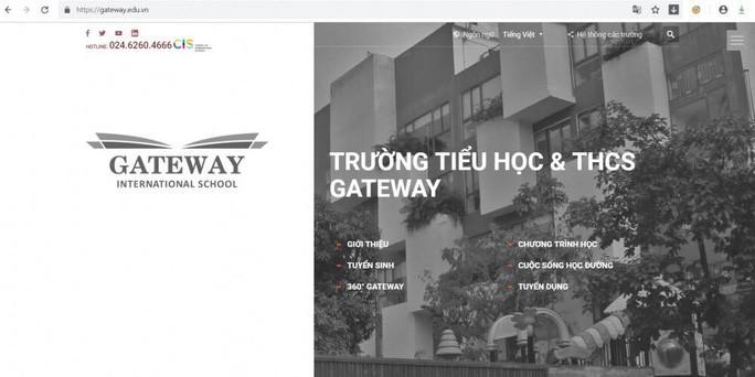 """Trên website, tên """"Trường Phổ thông liên cấp quốc tế Gateway"""" được đổi sang """"Trường Tiểu học & THCS Gateway"""""""