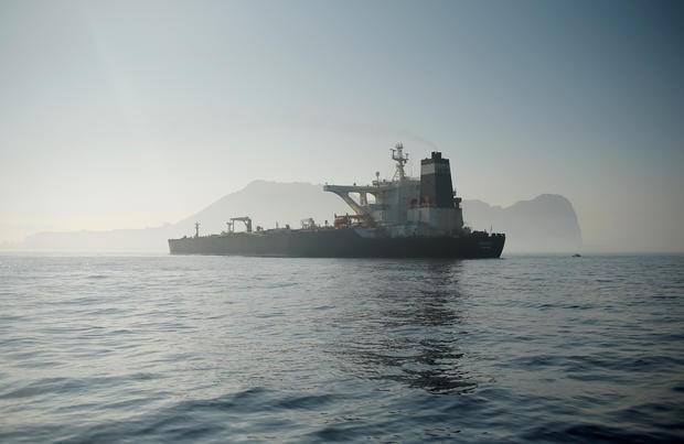 Tàu chở dầu Iran Grace 1 thả neo tại vùng Eo Gibraltar ngày 15/8. Ảnh: Reuters