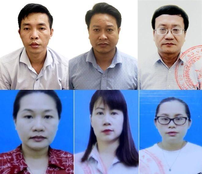 6 trong số 15 bị can của vụ án. Ảnh: Bộ Công an.