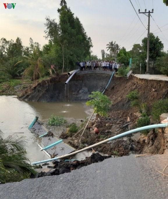Điểm sạt lở lớn tại xã Bình Xuân, Thị xã Gò Công.