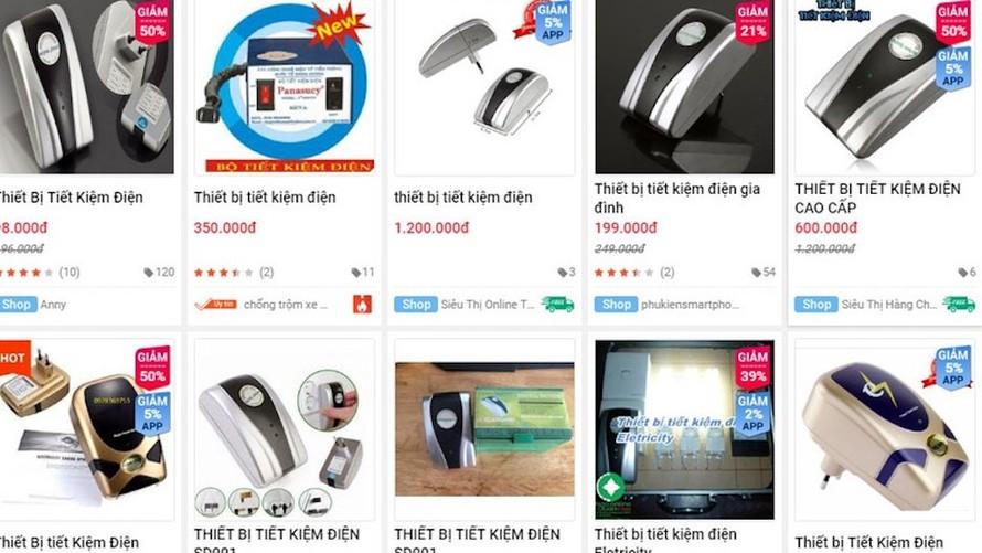 Các thiết bị tiết kiệm điện được quảng cáo rầm rộ trên các gian hàng online.