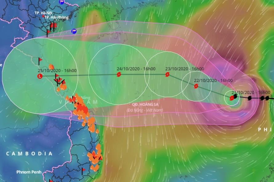 Dự báo đường đi của bão số 8. Ảnh: VNDMS.