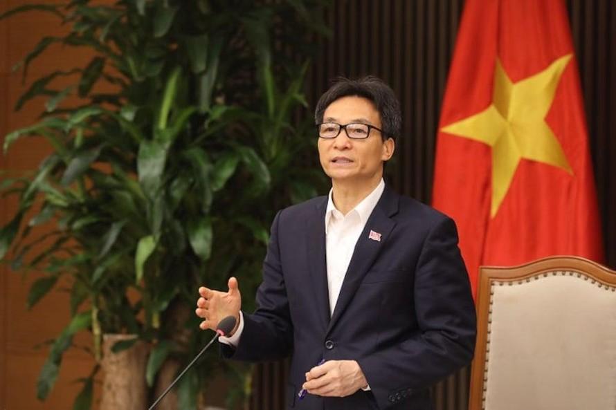 Phó Thủ tướng Chính phủ Vũ Đức Đam- Trưởng Ban Chỉ đạo Quốc gia phòng chống dịch COVID-19 phát biểu tại cuộc họp.