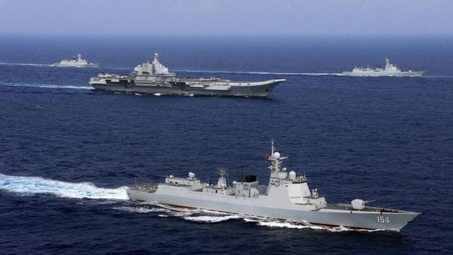 Các tàu chiến Trung Quốc trong một cuộc tập trận năm 2018.