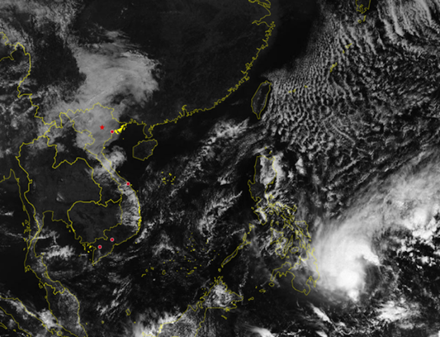 Dự báo khi đi vào Biển Đông, bão Dujuan ở khoảng cấp 7-8. Ảnh: KTTVQG