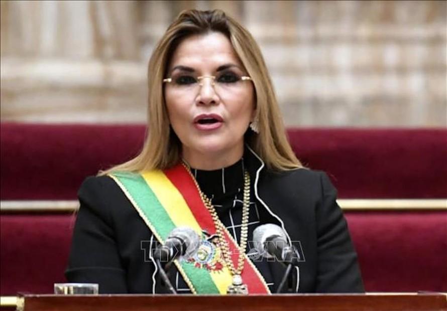 Tổng thống tạm quyền Bolivia Jeanine Anez trong bài phát biểu tại La Paz ngày 6/8/2020.