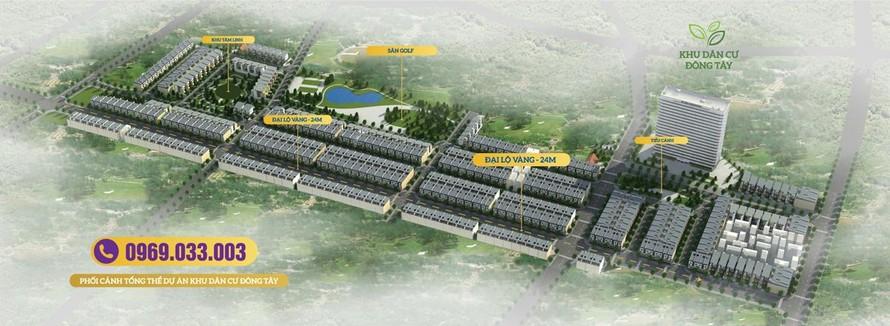 Phối cảnh tổng thể dự án Khu dân cư Đông Tây (huyện Phổ Yên, tỉnh Thái Nguyên).