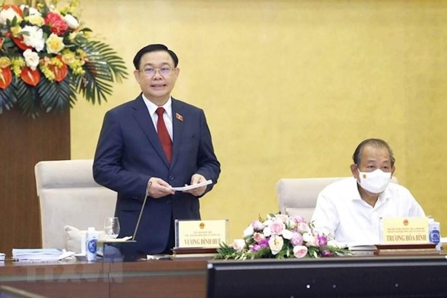 Chủ tịch Quốc hội Vương Đình Huệ phát biểu khai mạc Phiên họp thứ 7, Hội đồng Bầu cử Quốc gia.