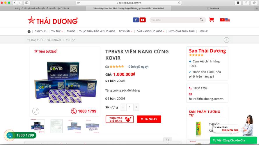 Sản phẩm Viên nang cứng Kovir hiện đang được bán với giá 1 triệu đồng/1 hộp/30 viên.