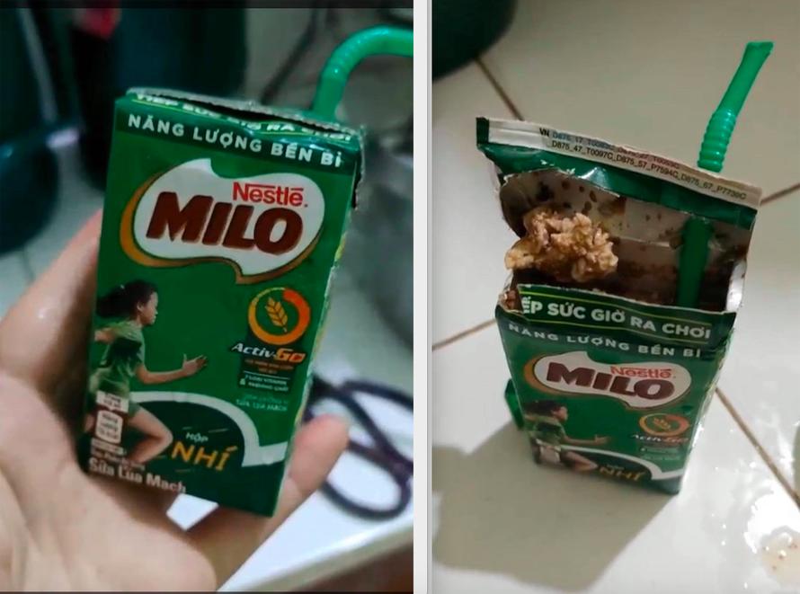 Chị V. phát hoảng khi phát hiện hộp sữa Milo đã bị vón cục, bốc mùi hôi thối mặc dù nắp hộp được dán kín và hạn sử dụng vẫn còn khá dài.