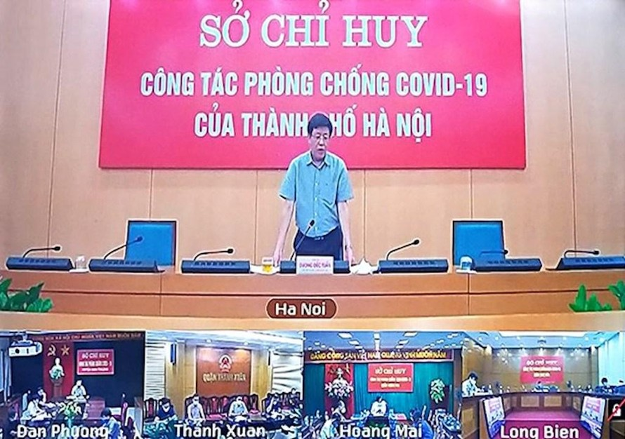 Phó Chủ tịch UBND TP. Hà Nội Dương Đức Tuấn họp với các đơn vị về công tác phòng, chống COVID-19.