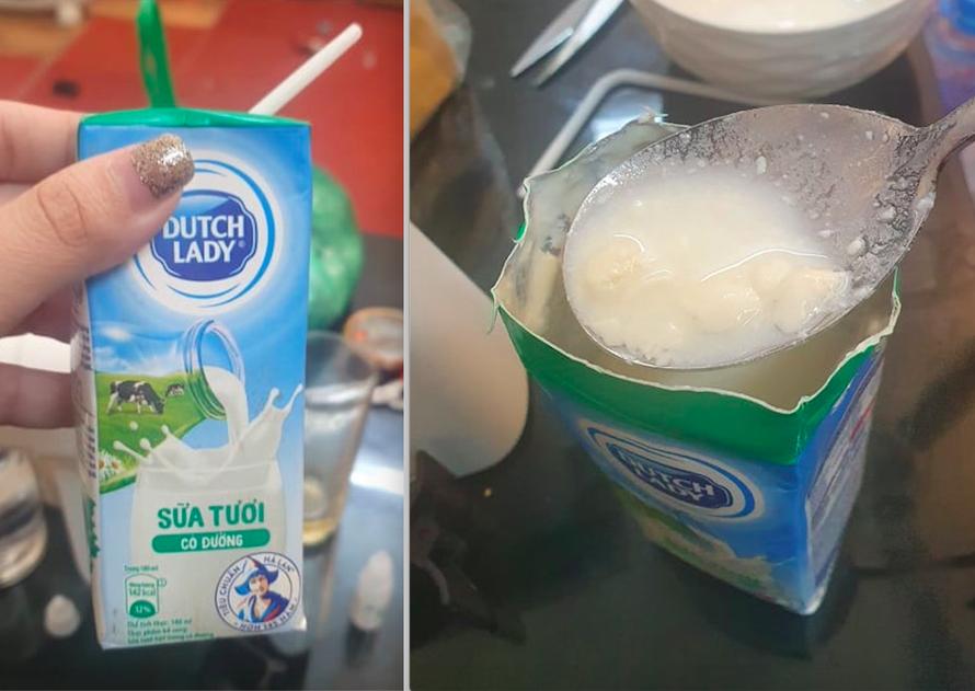 Khi cắt hộp sữa tươi Dutch Lady ra, chị Thảo đã phát hoảng khi nhìn thấy phần sữa bên trong hộp bị vón cục, bốc mùi hôi khó chịu dù nắp hộp sữa khi đó được dán kín, không hề có dấu hiệu bị thủng. (Ảnh do NVCC)