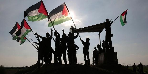 Người dân Palestine giơ quốc kỳ tại khu vực biên giới Israel-Gaza. (Nguồn: AFP)