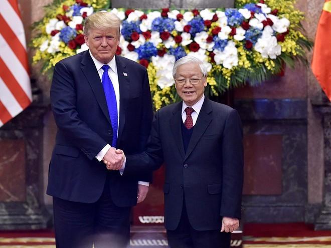 Tổng bí thư, Chủ tịch nước Nguyễn Phú Trọng tiếp Tổng thống Mỹ Donald Trump ngày 27.2.2019 Ảnh: Ngọc Thắng