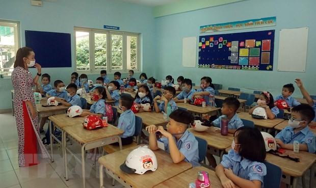 Buổi sinh hoạt lớp của học sinh lớp 1, Trường Tiểu học Đinh Tiên Hoàng (Quận 1). (Ảnh: Thu Hoài/TTXVN).