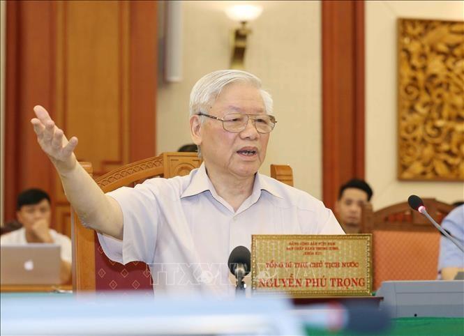 Tổng Bí thư, Chủ tịch nước Nguyễn Phú Trọng, Bí thư Quân ủy Trung ương phát biểu tại buổi làm việc với Ban Thường vụ Quân ủy Trung ương.