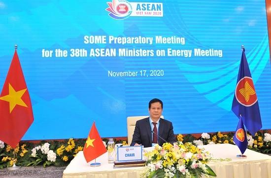 Ông Hoàng Tiến Dũng, Cục trưởng Cục Điện lực và năng lượng tái tạo (Bộ Công Thương), Trưởng đoàn SOME Việt Nam chủ trì hội nghị.
