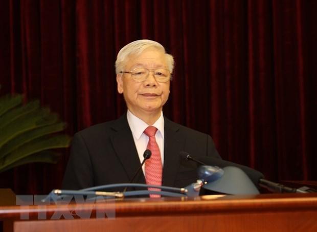 Tổng Bí thư, Chủ tịch nước Nguyễn Phú Trọng phát biểu bế mạc Hội nghị Trung ương 2. - Ảnh: TTXVN