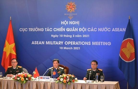 Đoàn Việt Nam tham dự AMOM-11. Ảnh: QĐND
