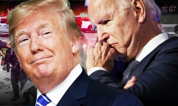 Tổng thống Mỹ Donald Trump và đối thủ trưc tiếp của ông, Joe Biden. (Ảnh: Daily Express)