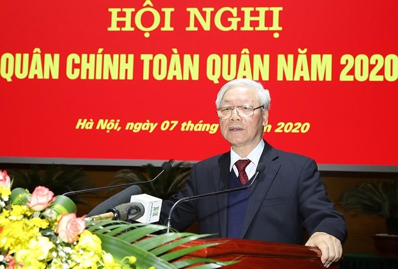 Tổng Bí thư, Chủ tịch nước Nguyễn Phú Trọng phát biểu tại Hội nghị Quân chính toàn quân năm 2020. Ảnh: Bộ Quốc phòng