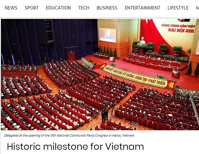 Báo Pretoria News của Nam Phi ngày 29/1 đăng bài viết với tiêu đề 'Historic milestone for Vietnam'. (Ảnh: TTXVN)