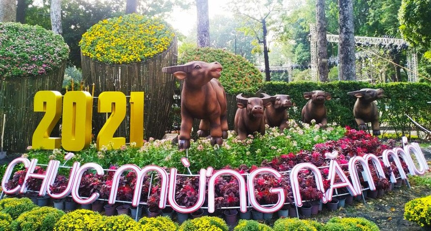 Đại cảnh chúc mừng năm mới với 5 chú trâu mạnh khỏe trên đường Trương Định (quận 1). (Ảnh: Hà Nội mới)