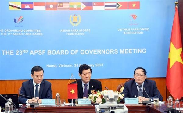 Đoàn Chủ tịch điều hành Hội nghị trực tuyến tại Việt Nam. Ảnh: Tổng cục TDTT