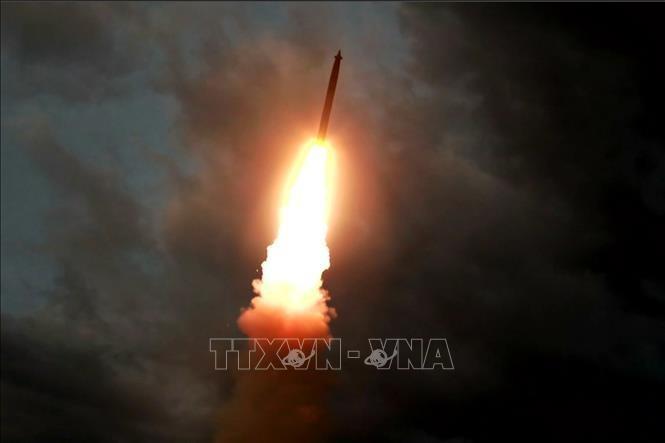 Một vụ thử tên lửa đạn đạo tại địa điểm bí mật ở Triều Tiên ngày 31/7/2019. Ảnh tư liệu: AFP/TTXVN