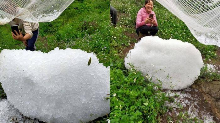 """Người dân Mộc Châu, Sơn La đang chụp lại những tảng mưa đá """"ngoại cỡ"""" rơi xuống địa bàn. (Ảnh: Báo Giao thông)"""